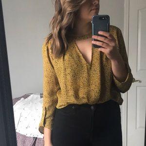 Boutique Mustard slit front blouse